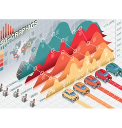 Isometric Infographic Set Elements with cars vector image vector image