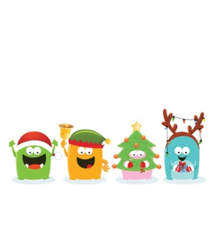 Monsters With Christmas Costume vector image