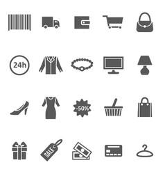 cartoon silhouette black shopping icon set vector image vector image