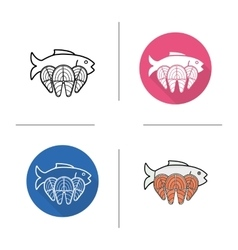 Fish flat design linear and color icons set vector image vector image