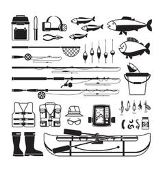 Fishing black icons vector image