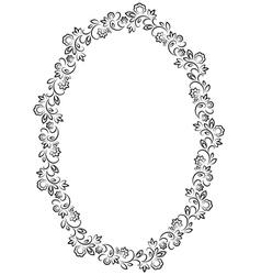 floral oval frame on white background vector image