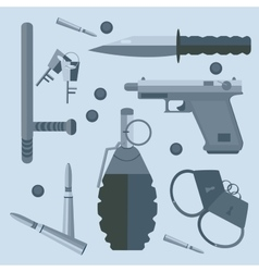 Gun baton bullets handcuffs keys vector image