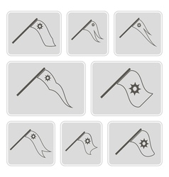 monochrome icons with flags vector image