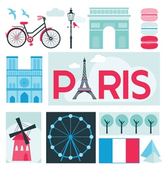 Paris Card - Places and Museum in Paris vector image vector image