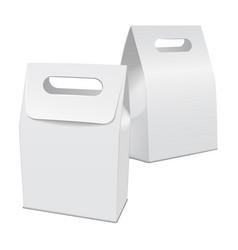 set of blank white 3d model cardboard take away vector image