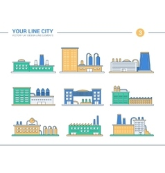 Set of line flat design industrial buildings icons vector image