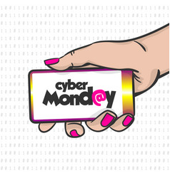 Cyber monday woman hand pop art hold phone vector