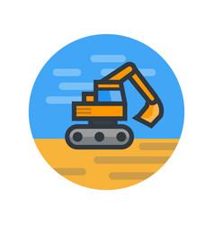 excavator in flat style vector image vector image