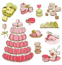 Macaroons and and Dessert Collection vector image vector image