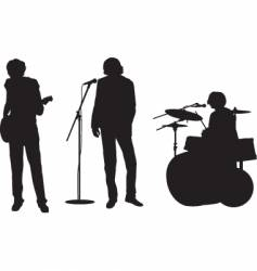 rock band silhouettes vector image vector image