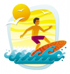 surfing in tropical sea vector image vector image