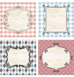 vintage frames on the old fabric vector image