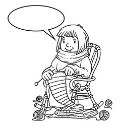 Coloring book with funny knitter women vector