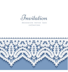 decorative frame with lace border vector image vector image