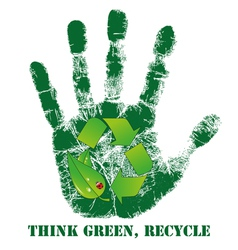 Hand print with recycle icon vector image vector image