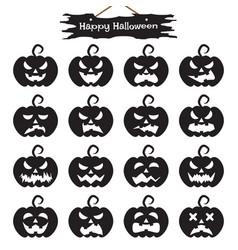 happy halloween - black pumpkin vector image