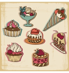 Retro Cakes Background vector image vector image