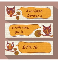 Three cartoon banners with doodle owls vector image