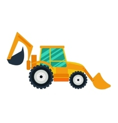 Yellow excavator on white background flat style vector image vector image