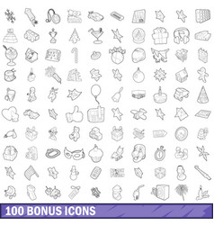 100 bonus icons set outline style vector image