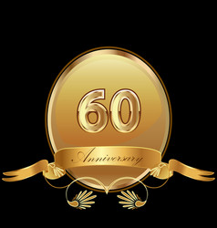60th golden anniversary birthday seal icon vector image