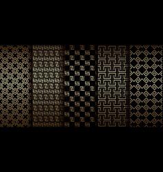 art deco golden geometric seamless patterns vector image