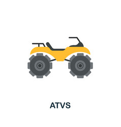 Atvs flat icon colored sign from excursions vector