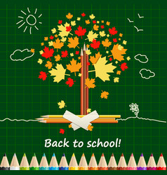 Back to school background or card with pencils vector