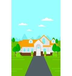 Background of house with beautiful landscape and vector image