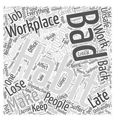Bad Habits in the Workplace Word Cloud Concept vector