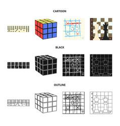 board game cartoonblackoutline icons in set vector image