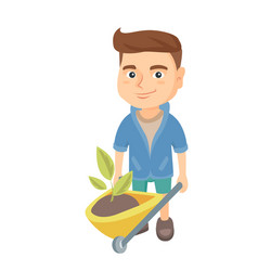 boy pushing wheelbarrow with soil and plant vector image