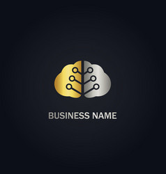 brain technology gold logo vector image