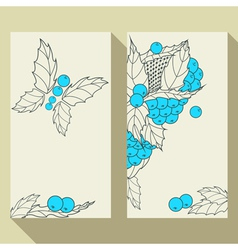 Business card set with hand drawn berries leaves vector