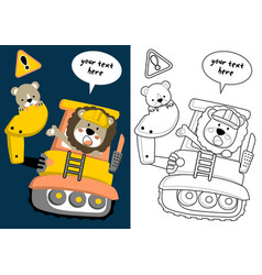 Cartoon animals on construction vehicle vector