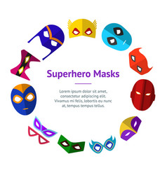 Cartoon superhero mask banner card circle vector
