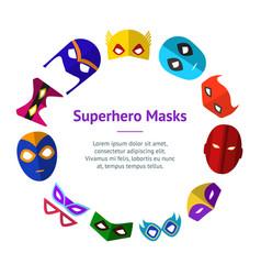 cartoon superhero mask banner card circle vector image