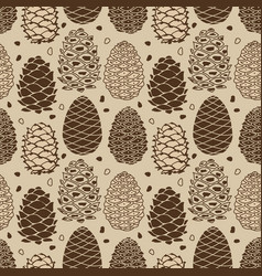 Cedar cones seamless pattern for your design vector