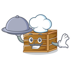 Chef with food crate mascot cartoon style vector
