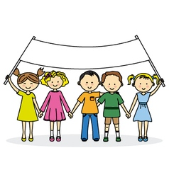 Children friends with a banner vector image