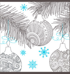 Christmas card with hand drawn decorated balls vector