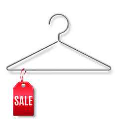 Clothes hanger with sale tag vector