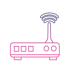 color line router digital wifi technology network vector image