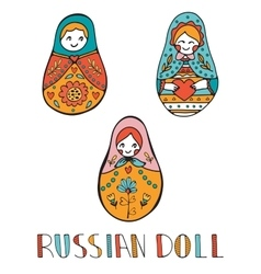 Colorful card with cute russian dolls vector image