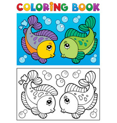 Coloring book with fish theme 2 vector
