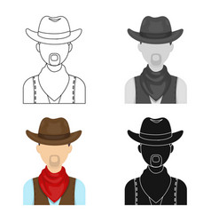 Cowboy icon in cartoon style isolated on white vector