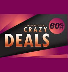 Crazy deals and discount banner voucher template vector