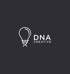 creative dna blood logo icon light bulb and helix vector image