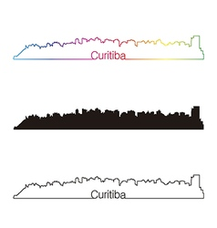 Curitiba skyline linear style with rainbow vector